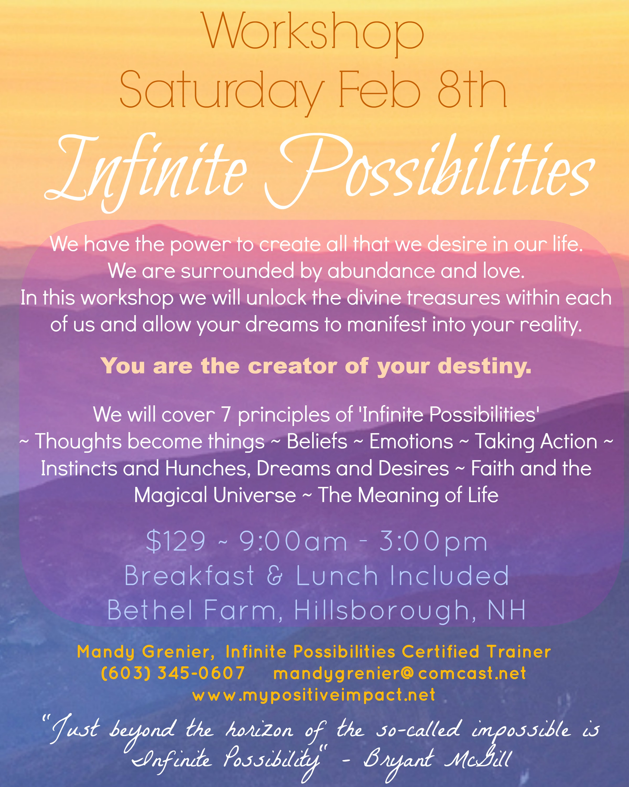 Infinite Possibilities Workshop With Mandy Grenier